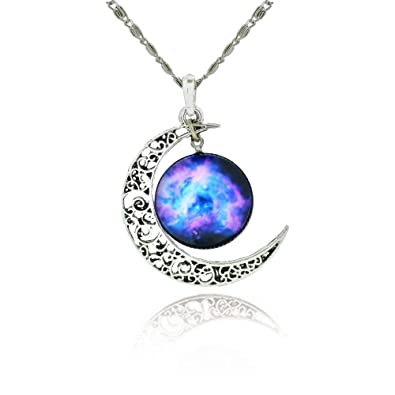 Amazon galaxy crescent cosmic moon pendant necklace purple galaxy crescent cosmic moon pendant necklace purple glass 175 chain mozeypictures