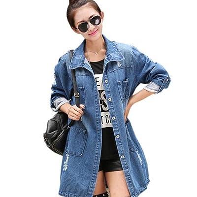 2016 Women's Casual High Street Denim Jacket Long Loose Holes Outwear M-5XL
