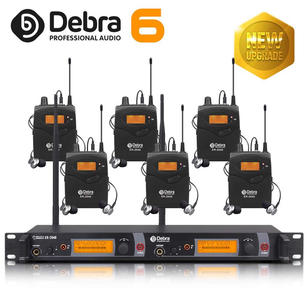 2019年最新アップデート!!!最高の音質!!! 耳のモニターシステムの専門UHF! ステージレコーディングスタジオ用デュアルチャンネルモニタリングER-2040タイプ(SR2050アップデートタイプ)(6個入り) With 6 Body Packs  B07PMRMJRL