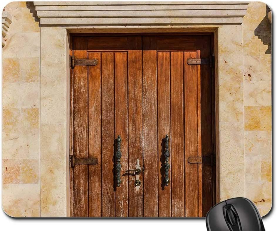 25X30cm Alfombrilla de Ratón Puerta Dintel De Madera Entrada Arquitectura Iglesia