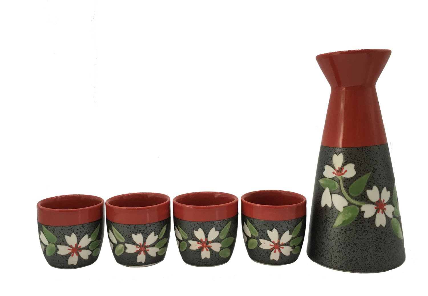 KCHAIN Traditional Hand Drawing Sakura Pottery Sake set (Red and Black) KCHAIN LIMITED