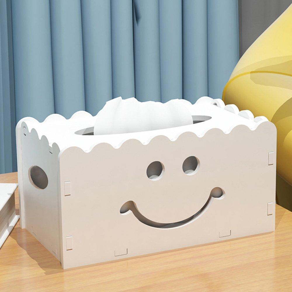 Yazi fai da te scatola del tessuto del legno Boutique kleenex per bagno, cucina, sala da pranzo decorazione Smile Face Sunfire2016 003949