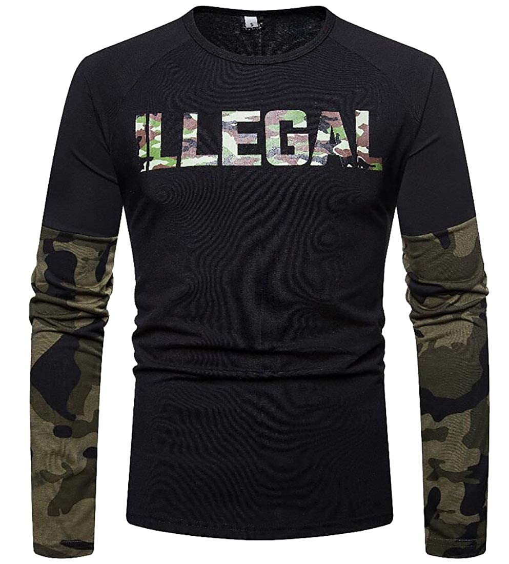 S-Fly Men Classic Long Sleeve Round Neck Camouflage Print Pullover Sweatshirt