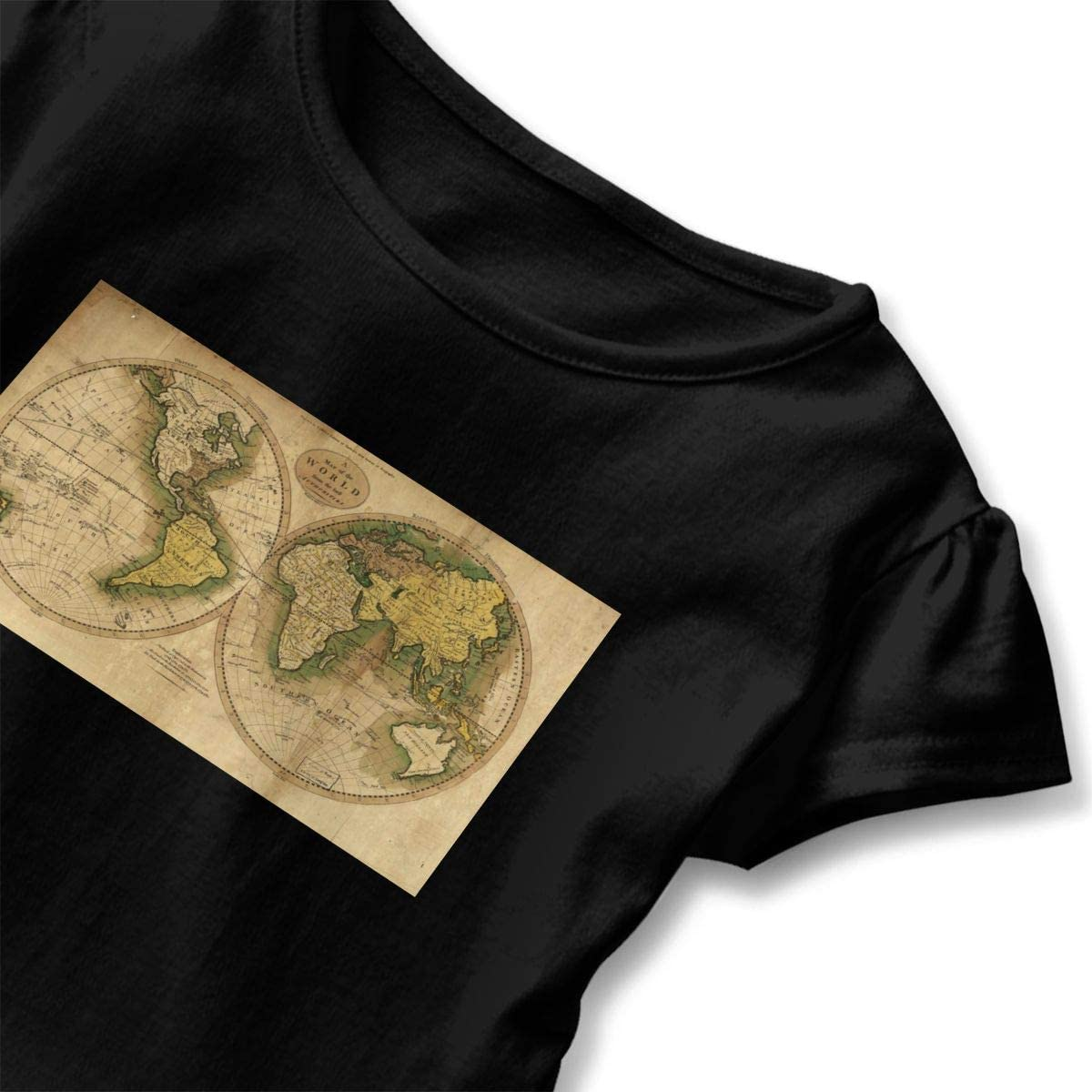 Not Available World Map Shirt Baby Girls Flounced Short Sleeve Basic Shirt for 2-6 Years Old Baby