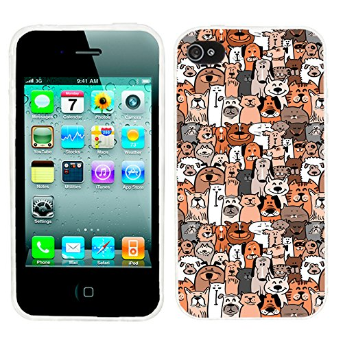 iPhone 4s Case,iPhone 4 Case,ChiChiC 360 Full Protective shockproof Stylish Slim Flexible Durable Soft TPU Elegant Artist Graphic Design Cover Cases for iPhone 4 4G 4S,cartoon animal pet cute brown dogs and cats smile