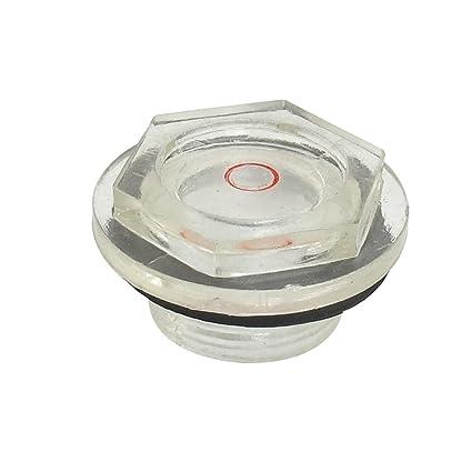 23 mm Rosca Macho Dia plástico Compresor de aire del nivel de aceite Sight cristal negro