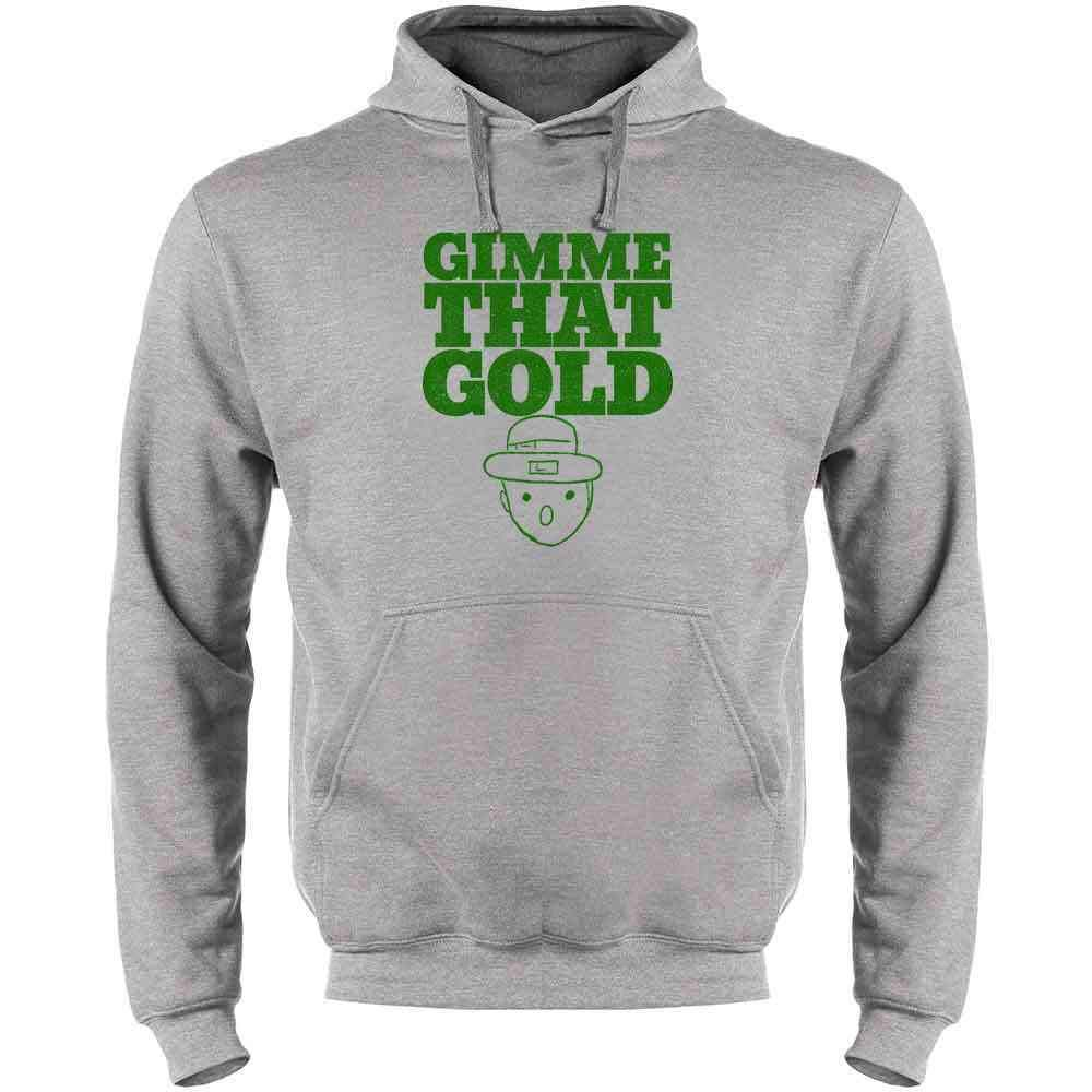 Pop Threads Gimme That Gold Leprechan Sketch St Patricks Day Mens Fleece Hoodie Sweatshirt