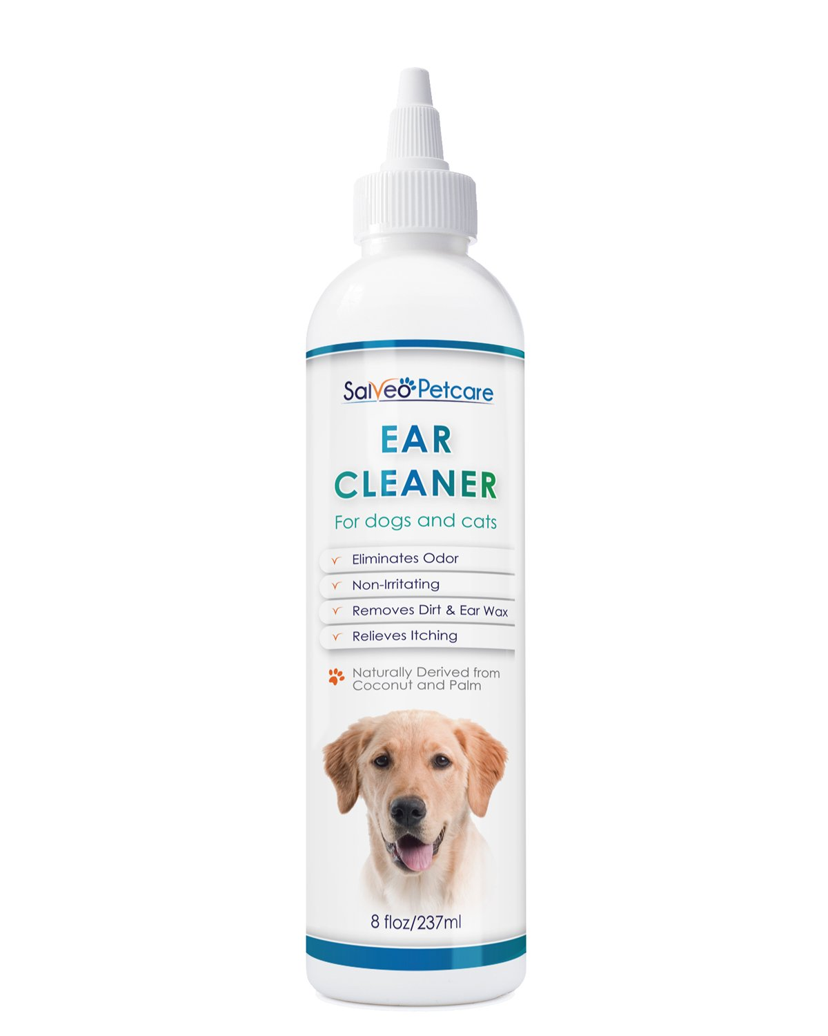 Dog Ear Cleaner Gently Removes Wax Dirt & Odor – Relieves Itching Cleans Away Infection Causing Bacteria & Yeast – Professional Strength Natural Formula - Made in USA