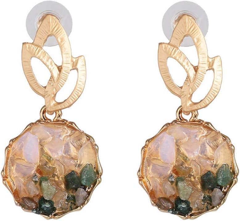 GHJDSFOG Pendientes Diseño de joyería de Moda Pendientes de incrustación de Piedra Verde Natural Pendientes de Hoja de Metal Dorado para Mujer Diseño de Moda Pendientes con dijes de Mujer