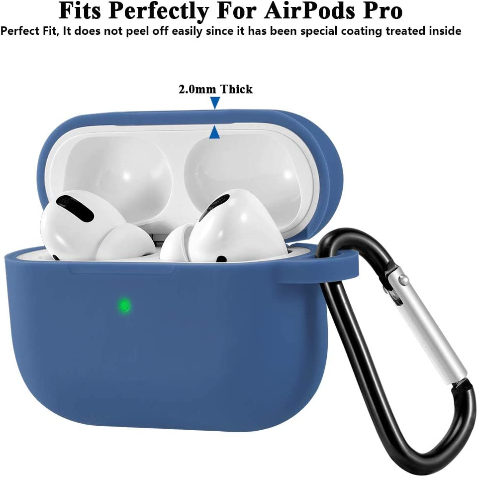 RAINSUNG Silicone Case for Airpods Pro Cover Portable with Carabiner Full Protection Visible Front LED Shock /& Scratch-Resistant Ultra-Thin Case Skin for AirPods Pro Charging Case Black