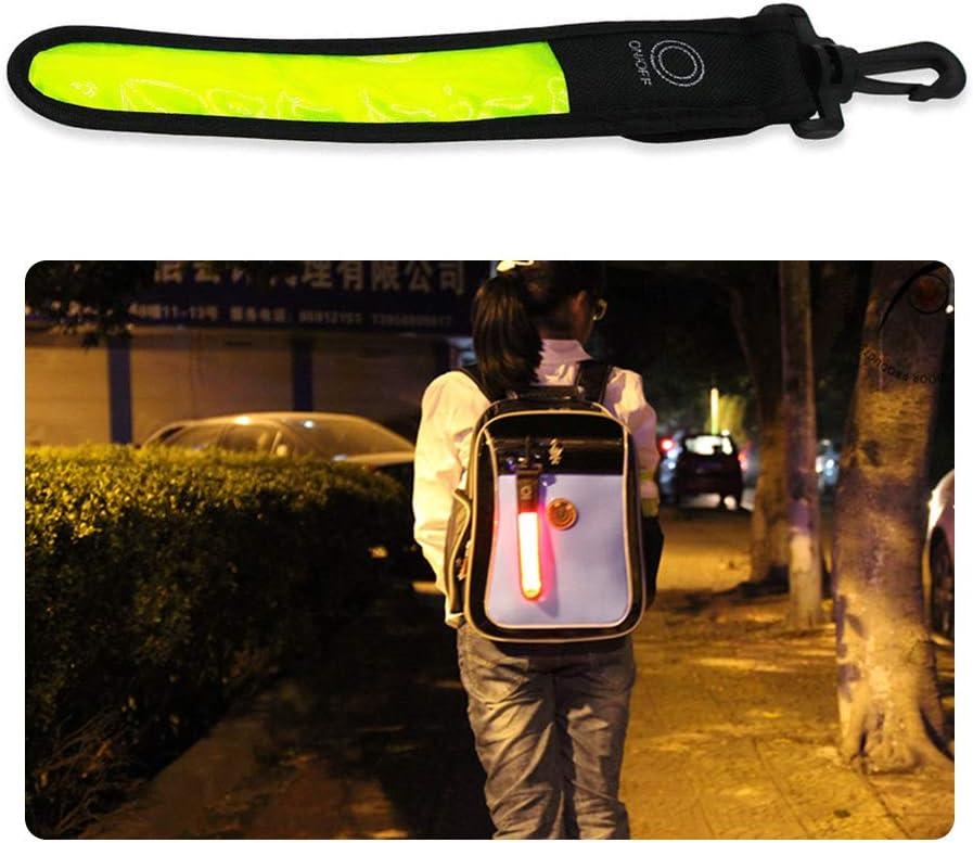 lumi/ère r/éfl/échissante de r/éflecteur de bande de 2pcs LED pour des cyclistes Gobesty Bande r/éfl/échissante de sac /à dos de LED des joggeurs /étiquette de sac davertissement de s des /étudiants
