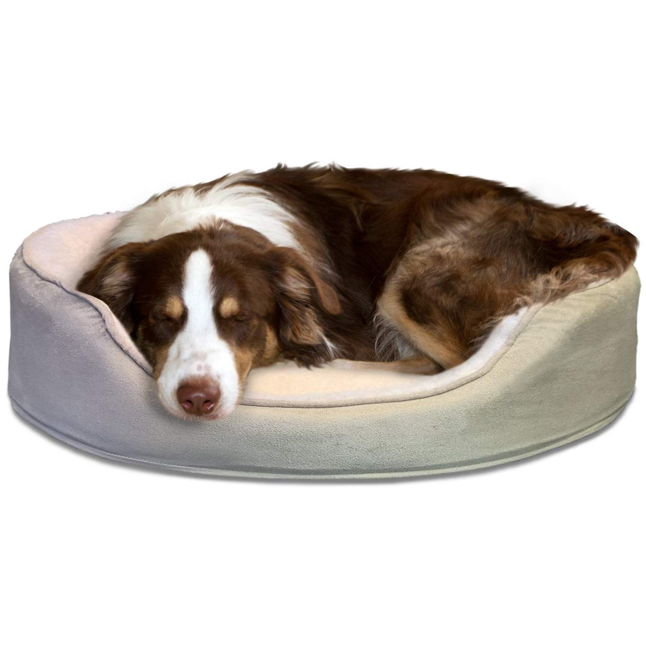 FurHaven Pet Dog Bed   Orthopedic Oval Lounger Pet Bed for Dogs & Cats, Clay, Large