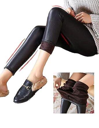 Winter Sportlegging.Teaio Damen Pu Leggings Winter Gefuttert Lederhose Skinny Legging
