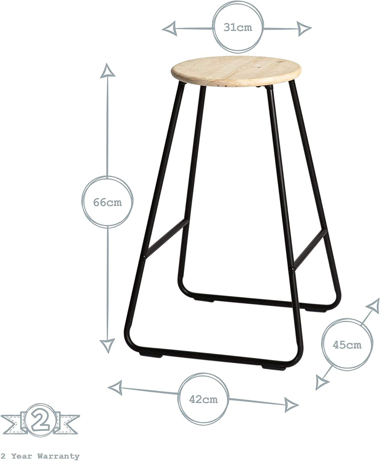 Breakfast Kitchen Island Counter Dining Chair with Footrest Black//Pine Harbour Housewares Wooden Bar Stool