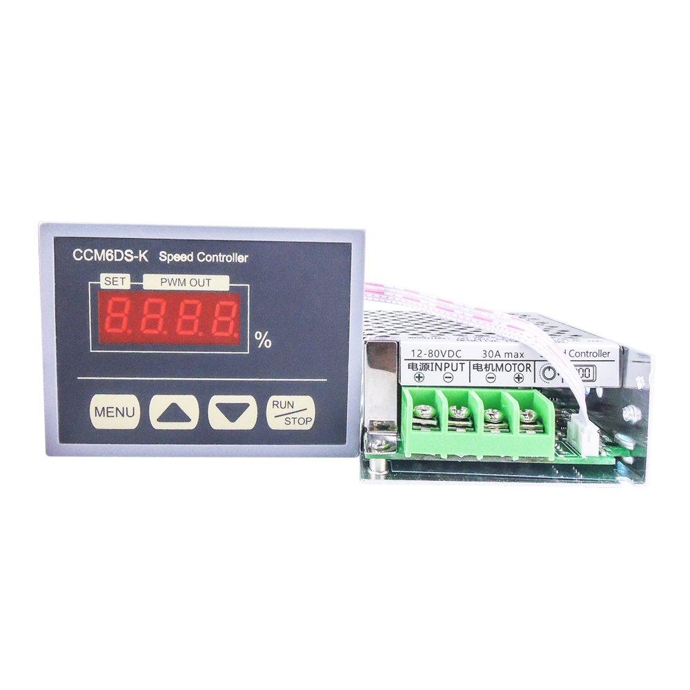 Motor Soft Starter 12-80V DC 30A PWM Motor Speeds Controller Governor with Digital Display Panel for Industrial