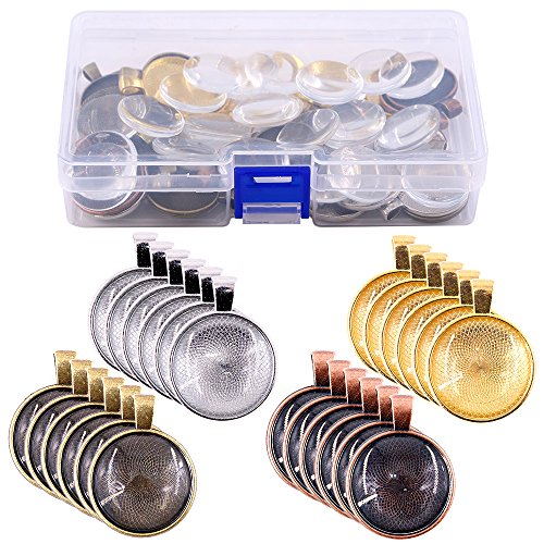 Glarks 56Pcs 4 Colors Pendant Trays Round Bezel with Glass Cabochon Round Clear Dome Tiles for Crafting DIY Jewelry Making ()