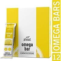 ahead® OMEGA BAR 12er Box Energieriegel mit DHA Omega-3 für die Gehirnleistung¹ – Proteinriegel mit Hafer und Whey-Protein für Alltagshelden und Athleten – Lemon Cheesecake, 12er Pack (12x50g)