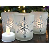 "Snowflake Candleholders with Flameless Flickering LED Candles Set of 3 Frosted Glass Glittery Snowflakes with Jewels - 2.75""H"