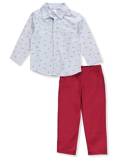 b4e323b66 Carter's Baby Boys Happy Little Guy Button Down Pants Set 12 Months Blue/red