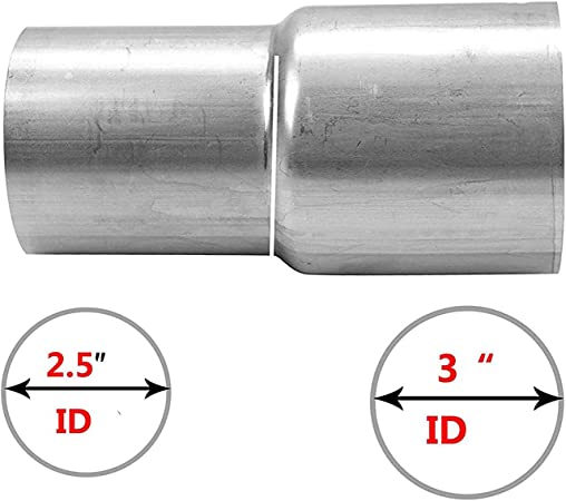 Almencla 2x Universal 2 OD to 2.5 ID Motorcycle Exhaust Link Pipe Adapter Connector Reducer Muffler Stainless Steel