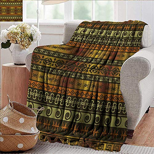 PearlRolan Summer Blanket,Zambia,Ethnic Ornamental Abstract Heritage Traditional Ceremony Ritual Image,Gold Dark Brown Orange,Lightweight Breathable Flannel Fabric,Machine Washable 50