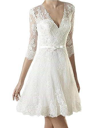 Brautkleid Hochzeitskleider Damen Kurz Brautmode Spitze V Ausschnitt