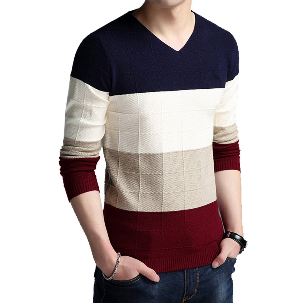 Sweater Men 2017 Autumn New Men's Long-Sleeved Slim Sweater Male V-Neck Thin Youth Mens Knitwear Sweaters Casual (M, Dark Blue)