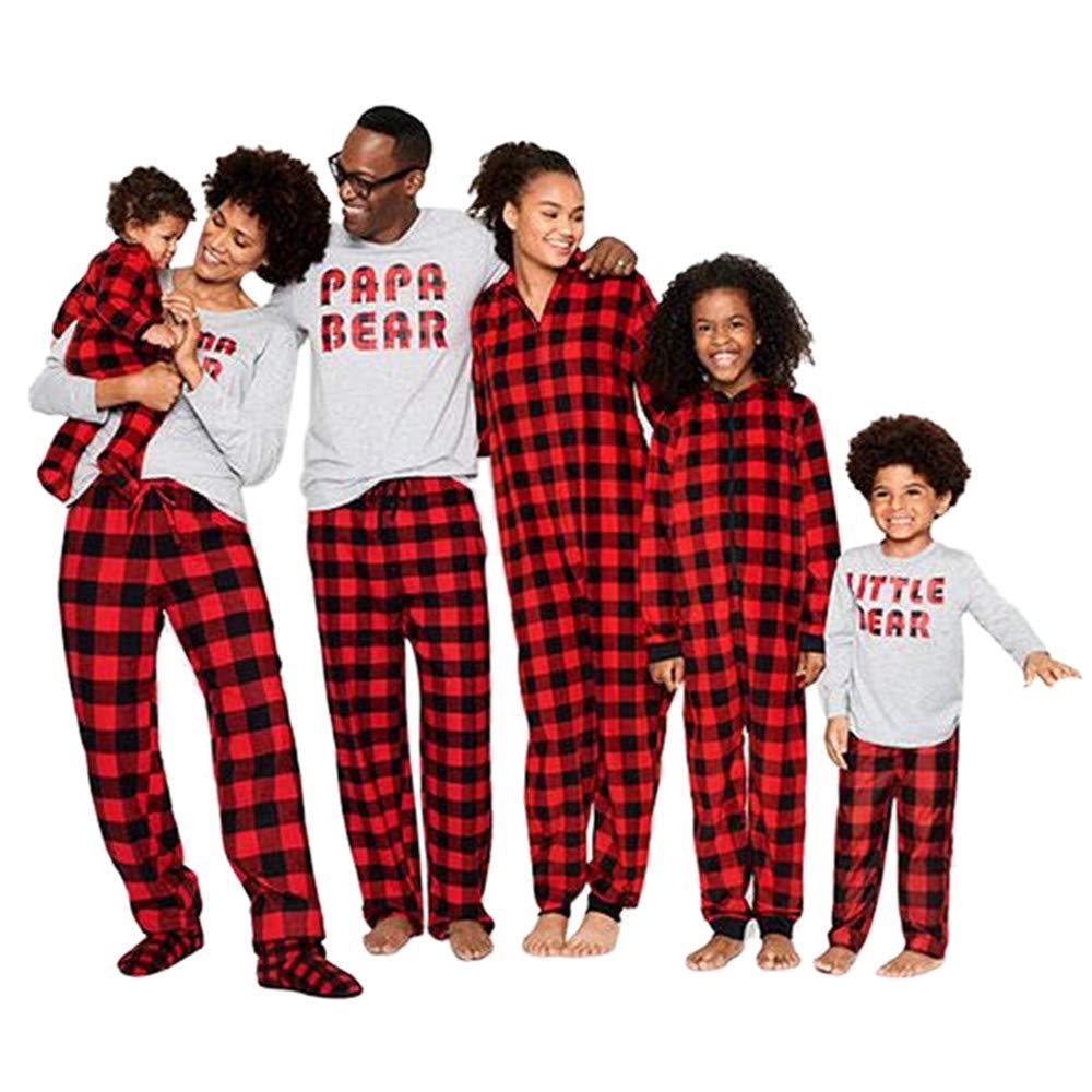 Ansenesna Familien Outfit Pyjama, Mutter Vater Kinder Baby Strampler Herbst Winter Soft Elegant Tops und Kariert Hose Kleidung Set 18969