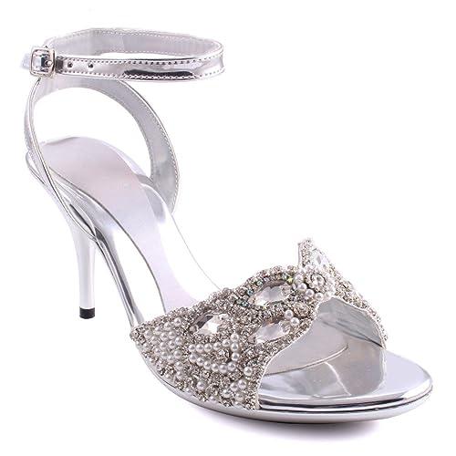 Sandalo Donna da Sera Tacco Punta Aperta Diamante Festa Da Donna Sandalo Taglie UK 38
