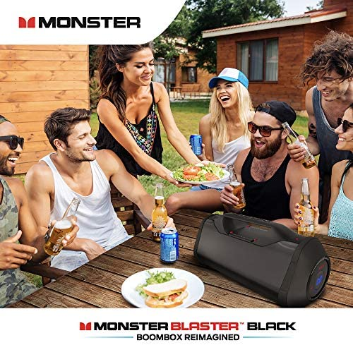 Monster Superstar Blaster Boombox High Performance Portable Wireless Bluetooth Speaker, Water Resistant with Indoors Outdoors EQ Modes Updated Model Black