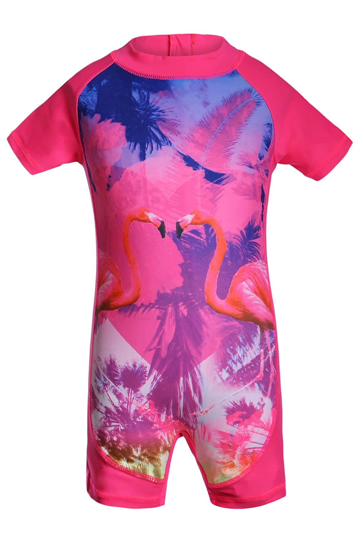 Aleumdr Little Mermaid Princess Girls Zip One Piece Swimsuit Short Sleeve Rash Guard Swimwear JZT410017-P