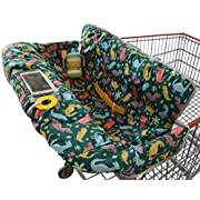 Shopping Cart Cover for Baby Or Toddler | 2-in-1 High Chair Cover | Universal Fit for Boy Or Girl | Includes Carry Bag | Machine Washable | Fits Restaurant Highchair (Dinosaurs)