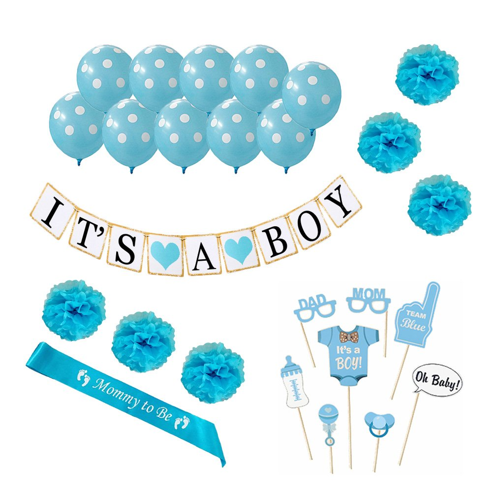 Baby Shower Decorations For Boy 26 Piece kit, Gender Reveal, Happy Party Favors, Supplies and Decorations By Oliveit