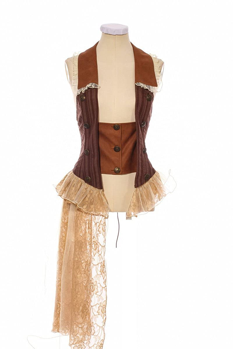 HaoLin Steampunk Corset Lace Cincher Bodice Bustier Renaissance Vest Costume for Women