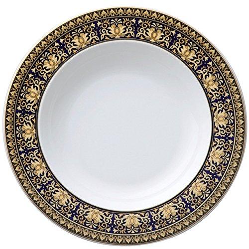 (Versace Medusa Soup Plate, Porcelain, Blue, 22cm)