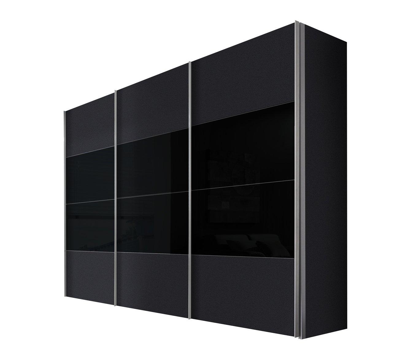 Solutions 49620-972 Schwebetürenschrank 3-türig, Korpus und Front graphit, Glas schwarz, Griffleisten alufarben, 68 x 300 x 216 cm