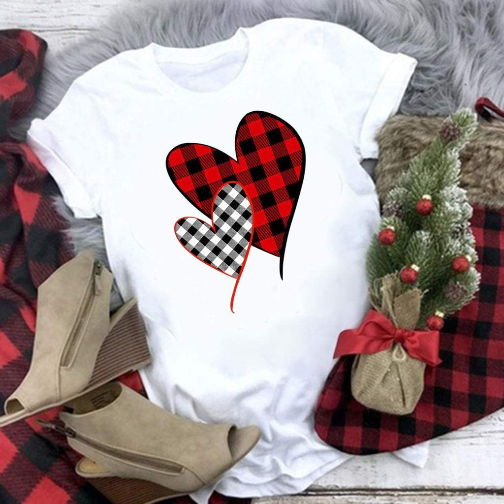 GDJGTA Valentines Day Shirt Buffalo Plaid Love Heart Graphic Tees Letter Print Short Sleeve Tops Shirts for Women