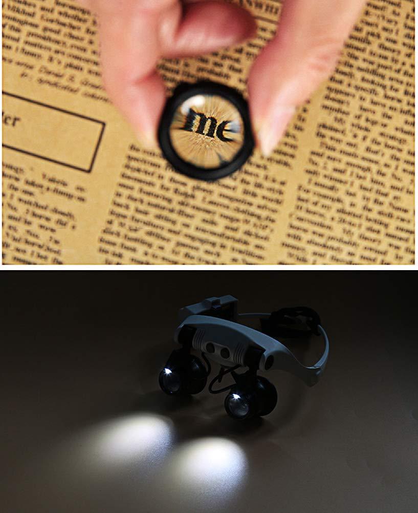 Gafas Lupa con Luz 2 LED y 4 Lentes Intercambiable 10X 15X 20X 25X - Lupa Relojero de Manos Libres para Leer, Soldar, Reparación de Joyería y Trabajo de ...
