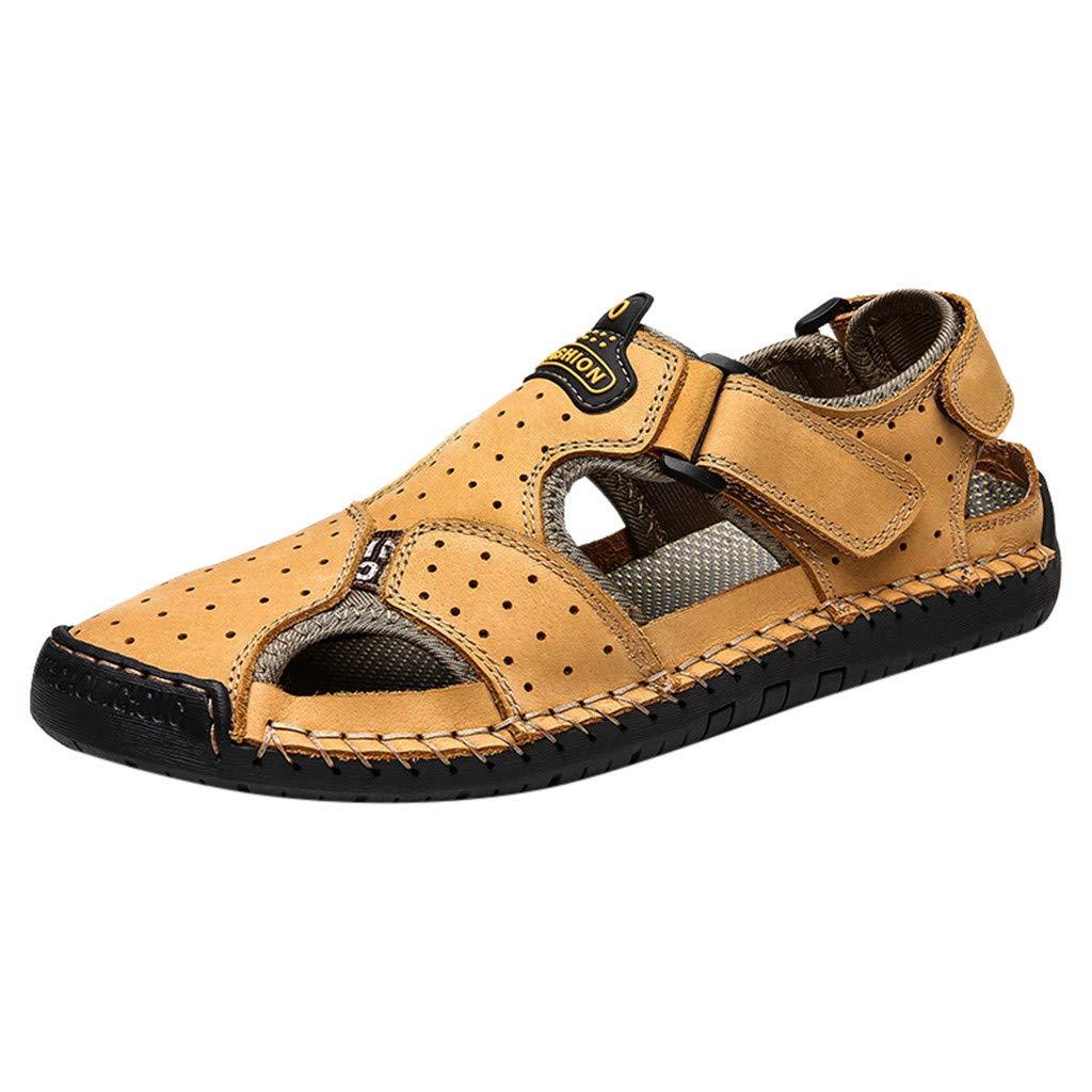 YKARITIANNA Men's Summer Fashion Trend Beach Casual Comfort Wild Sandals Yellow by YKARITIANNA Shoes