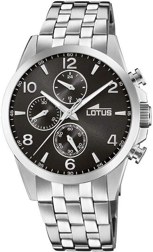 Lotus-orologio da uomo al quarzo con display con cronografo e cinturino in acciaio inox color argento/18152 2 18152/2
