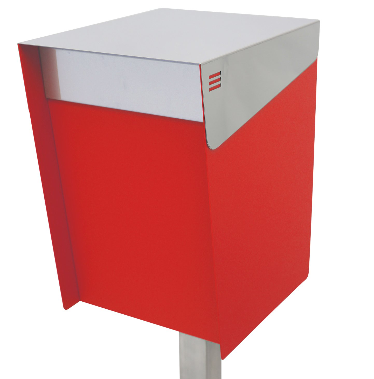 San Jose(サンノゼ) トール 郵便ポスト ポール付き スタンド型 ステンレス製 鍵付き おしゃれ 大型 アメリカンポスト 大容量 郵便受け 99.9% 防水構造 日本製 レッド B01ARPXPMC レッド レッド