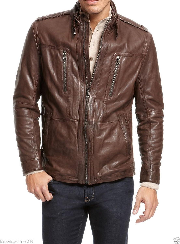 Royal Outfit Genuine Lambskin Leather Regular Fit Biker Jacket for Men - Brown
