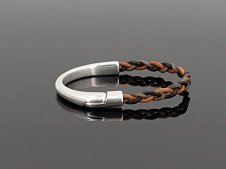 pulsera unisex hecha a mano de cuero y zamak, pulsera de cuero de hombre, pulsera de cuero mujer, pulsera boho, pulsera de estilo uno de 50