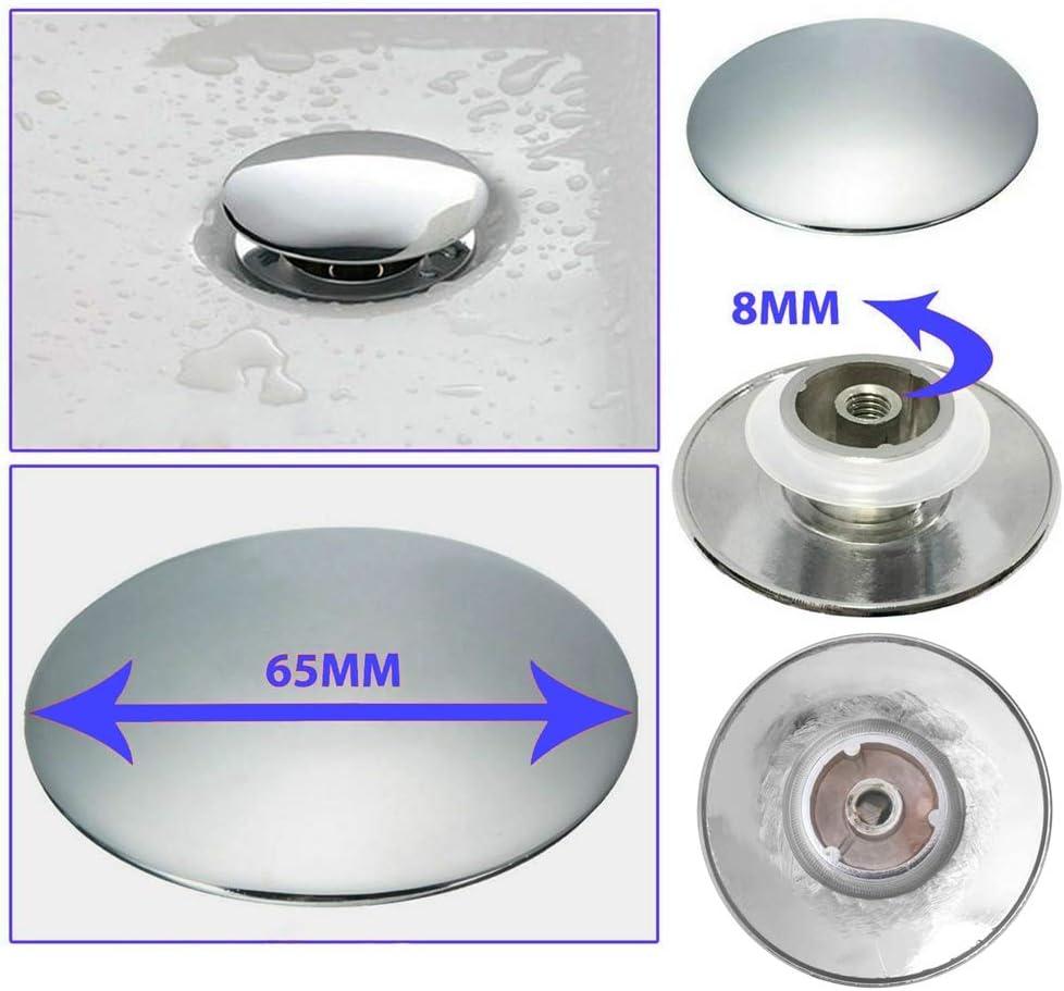 BAQI Basin Waste Easy Pop Up Bathroom Sink Push Button Click Clack Plug 66mm