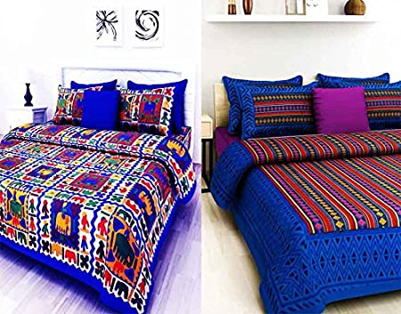 Bombay Spreads Rajasthani and Jaipuri Traditional 100% Cotton 2 Double Bedsheet Combo with 4 Pillow Cover Full, Blue