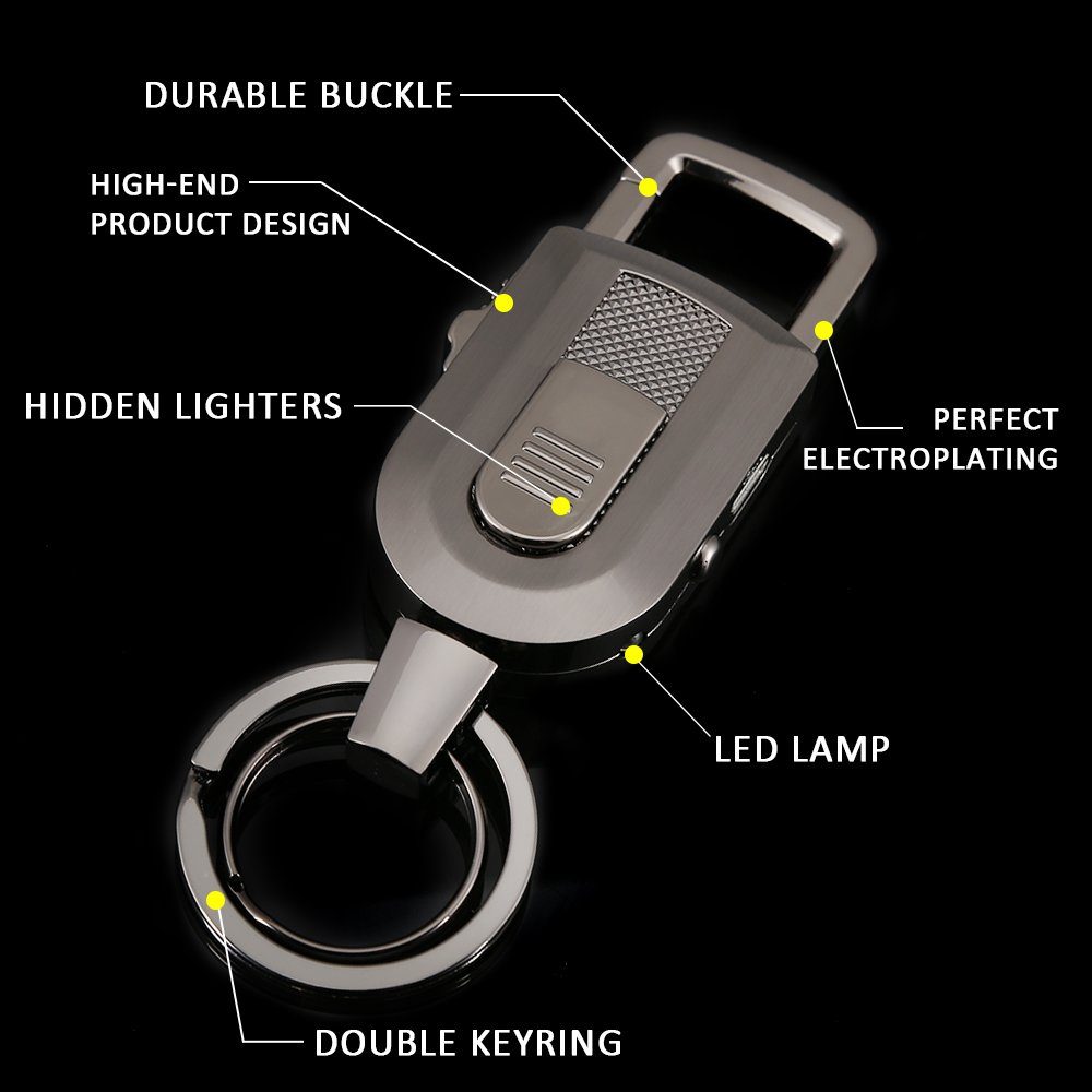 Keychain Flashlight with Windproof Flameless Electronic Cigarette Lighter and Bright LED Light, Lightweight and USB Rechargeable,Great Gift Ideals by Jobon (Image #4)