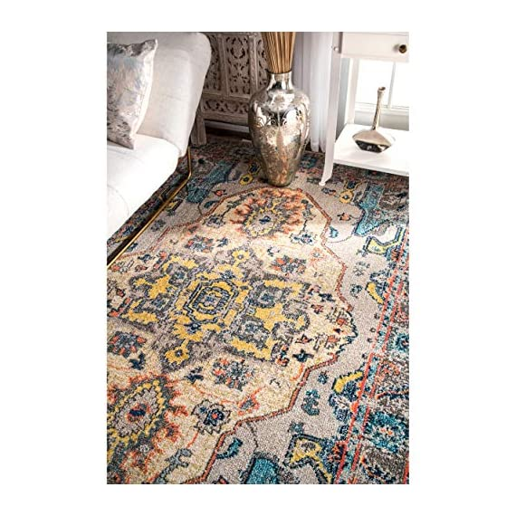 "nuLOOM Corbett Vintage Boho Area Rug, 5' 3"" x 7' 7"", Grey - Made in Turkey PREMIUM MATERIAL: Crafted of durable synthetic fibers, it has soft texture and is easy to clean SLEEK LOOK: Doesn't obstruct doorways and brings elegance to any space - living-room-soft-furnishings, living-room, area-rugs - 61Q1%2BydU %2BL. SS570  -"