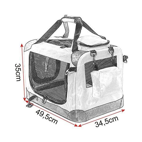 61Q1 2 61 L EUGAD Hundebox faltbar Hundetransportbox Auto für Katzen Kätzchen Chihuahua Havaneser Welpen Grau S (49,5x34,5x35cm…