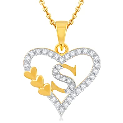 Kanak Jewels Gold Brass Letter S In Heart Shaped For Men And Women