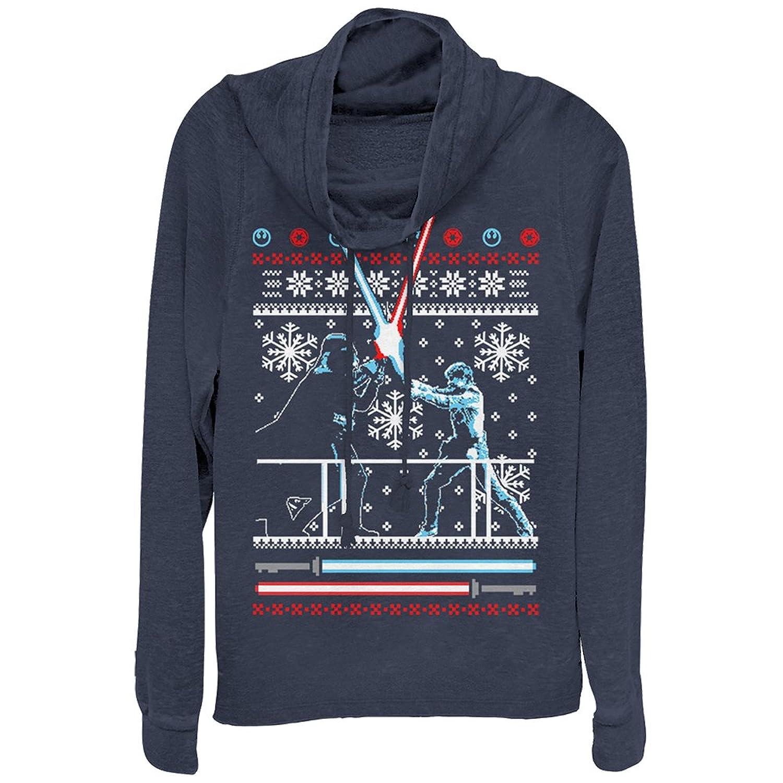 Nice Fifth Sun Star Wars Juniors' Ugly Christmas Sweater Duel Cowl Neck Sweatshirt supplier